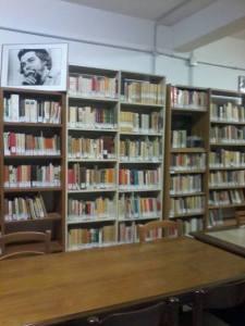 Parete di librerie e quadro raffigurante Ernesto Che Guevara